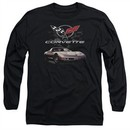 Chevy Long Sleeve Shirt Corvette Checkered Past Black Tee T-Shirt