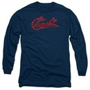 Chevy Long Sleeve Shirt Distressed Script Navy Tee T-Shirt