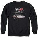 Chevy Sweatshirt Corvette Checkered Past Adult Black Sweat Shirt