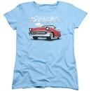 Chevy Womens Shirt Bel Air Clouds Light Blue T-Shirt