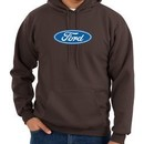 Ford Logo Hoodie Hooded Sweatshirt Oval Emblem Adult Brown Hoody