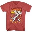 Danger Mouse Shirt Lightning Bolts Heather Red T-Shirt