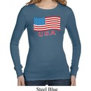 Distressed USA Flag Ladies Long Sleeve Thermal Shirt