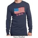 Distressed USA Flag Mens Long Sleeve Thermal Shirt