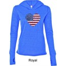 Distressed USA Heart Ladies Tri Blend Hoodie Shirt