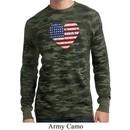 Distressed USA Heart Mens Long Sleeve Thermal Shirt