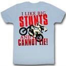 Evel Knievel Shirt I Like Big Stunts Light Blue T-Shirt