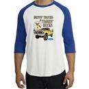 Ford Truck Shirt Driving and Tagging Bucks Raglan Tee White/Royal
