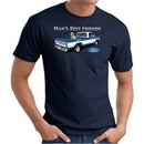 Ford Man's Best Friends Classic Truck Adult T-Shirt- Navy