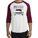 Ford Mustang Shirt USA 1964 Country Raglan Tee White/Cardinal