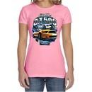 Ford Mustang Ladies Shirt Yellow White GT500 Crewneck Tee T-Shirt