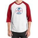 Ford Mustang Shirt Shelby Cobra Blue & Red Mens Raglan Tee T-Shirt