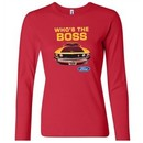 Ford Mustang Shirt Who's The Boss 302 Ladies Long Sleeve Tee T-Shirt