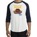 Ford Mustang Boss Shirt Whos The Boss 302 Raglan Tee White/Navy
