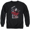 Friday the 13th Sweatshirt Jason Attacks Cabin Adult Black Sweat Shirt