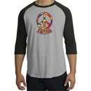 Peace Sign Shirt Funky 70s Peace Raglan Tee Heather Grey/Black
