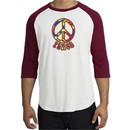 Peace Sign Shirt Funky 70s Peace Raglan Tee White/Cardinal