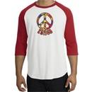 Peace Sign Shirt Funky 70s Peace Raglan Tee White/Red