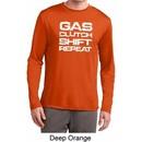 Gas Clutch Shift Repeat White Print Mens Dry Wicking Long Sleeve Shirt