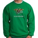 U.S. Navy Seal Crewneck Sweatshirt ? Devgru Adult Pullover Kelly Green