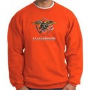 U.S. Navy Seal Crewneck Sweatshirt ? Devgru Adult Pullover Orange