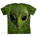 Green Alien Face Shirt Tie Dye Adult T-Shirt Tee