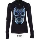 Halloween Glass Skull Ladies Tri Blend Hoodie Shirt