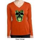 Halloween Glow Bones Ladies Dry Wicking Long Sleeve Shirt