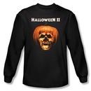 Halloween II T-shirt Skull Pumpkin Shell Adult Black Long Sleeve Shirt