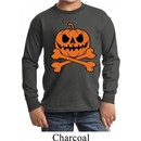 Halloween Pumpkin Skeleton Kids Long Sleeve Shirt