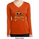 Halloween Pumpkin Skeleton Ladies Dry Wicking Long Sleeve Shirt