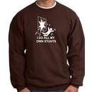 I Do My Own Stunts Brown Sweatshirt Crashing and Falling White Print