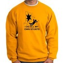 I Do My Own Stunts Gold Sweatshirt Crashing and Falling Black Print