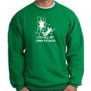 I Do My Own Stunts Kelly Sweatshirt Crashing and Falling White Print
