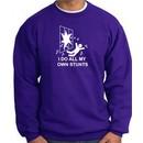 I Do My Own Stunts Purple Sweatshirt Crashing and Falling White Print
