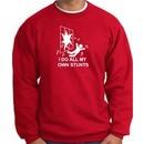 I Do My Own Stunts Red Sweatshirt Crashing and Falling White Print