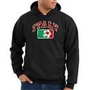 Italian Hoodie Hooded Sweatshirt Italia Soccer Futbol Black Hoody