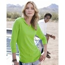 J America Ladies T-Shirt 3/4 Sleeve Hooded Slub V-Neck Tee Shirt