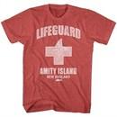 Jaws Shirt Amity Lifeguard Red Heather T-Shirt