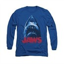 Jaws Shirt From Below Long Sleeve Royal Blue Tee T-Shirt