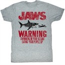 Jaws Shirt Warning Adult Heather Grey Tee T-Shirt