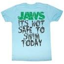 Jaws T-shirt Movie Shark Not Safe Adult Light Blue Tee Shirt