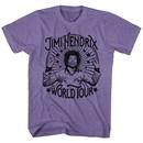 Jimi Hendrix Shirt World Tour Heather Purple T-Shirt