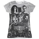 Justice League Movie Black & White Sublimation Juniors Tee Front/Back