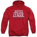 Justice League Movie Hoodie Distressed Logo Red Sweatshirt Hoody