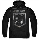 Justice League Movie Hoodie Shield of Emblems Black Sweatshirt Hoody