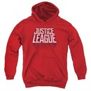 Justice League Movie Kids Hoodie Distressed Logo Red Youth Hoody