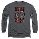 Justice League Movie Long Sleeve  League of Six Charcoal Tee T-Shirt