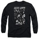 Justice League Movie Long Sleeve Pushing Forward Black Tee T-Shirt