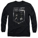 Justice League Movie Long Sleeve Shield of Emblems Black Tee T-Shirt